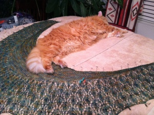 Guarding Lisa's Little Leaves Shawl…...